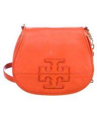 3c12816ba34b Lyst - Tory Burch Amanda Fold-over Messenger Bag Black in Metallic