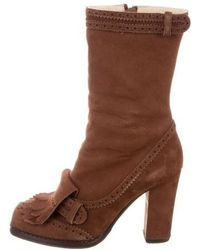 John Galliano - Fringe-trimmed Mid-calf Boots - Lyst