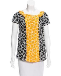 Love Moschino - Floral Print Short Sleeve Top Black - Lyst
