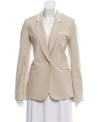 Elizabeth and James - Leather-trimmed Notch-lapel Blazer Neutrals - Lyst