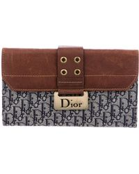 Dior - Leather-trimmed Diorissimo Wallet Navy - Lyst