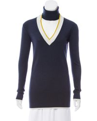 TOME - Slit-turtleneck Wool Sweater W/ Tags Navy - Lyst