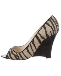 Brian Atwood - Canvas Peep-toe Wedges - Lyst
