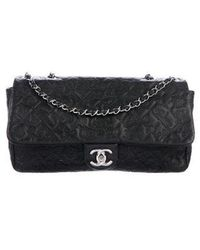 Chanel - Embossed Lucky Charms Flap Bag Black - Lyst