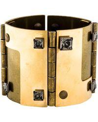 Lanvin - Crystal Hinged Cuff Brass - Lyst
