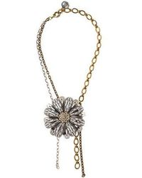 Lanvin - Crystal Flower Pendant Necklace Silver - Lyst