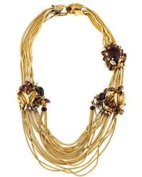 Erickson Beamon - Resin, Crystal & Tiger's Eye Collar Necklace Gold - Lyst
