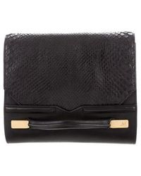 J. Mendel - Python-accented Leather Clutch Black - Lyst