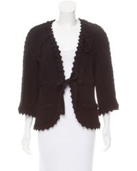 Chanel - Three-quarter Sleeve Wool Jacket Black - Lyst