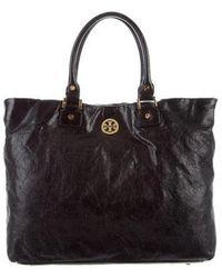 3de4655b735 Lyst - Tory Burch Dena Leather Tote Black in Metallic