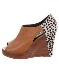 Rebecca Minkoff - Peep-toe Platform Wedges Tan - Lyst