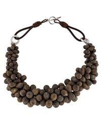 Brunello Cucinelli - Bronzite Bead Collar Necklace Silver - Lyst
