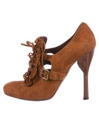 John Galliano - Suede Square-toe Booties Brass - Lyst