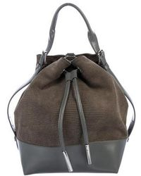 Opening Ceremony - Leather-trimmed Bucket Bag Grey - Lyst