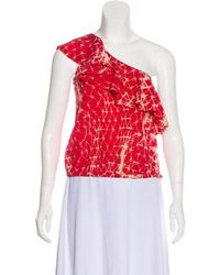 Gryphon - Silk One-shoulder Top Red - Lyst