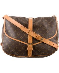 eb64a6b14f6a Lyst - Louis Vuitton Monogram Saumur 40 Brown in Natural
