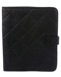 Lanvin - Quilted Leather Ipad Case Black - Lyst