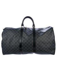 Louis Vuitton - Damier Graphite Keepall Bandoulière 55 Black - Lyst