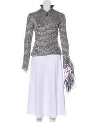 Wanda Nylon - Long Sleeve Turtleneck Top Silver - Lyst