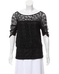 Loeffler Randall - Lace Short Sleeve Blouse - Lyst