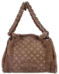 499e93754b7 Lyst - Chanel Leather Tote Bag Coco Mark in Brown