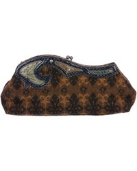 Miu Miu - Miu Snakeskin-trimmed Tweed Clutch Brown - Lyst
