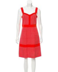 Tory Burch - Embroidered Knee-length Dress Orange - Lyst