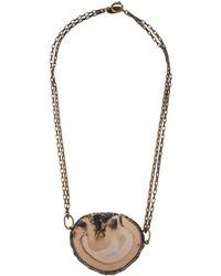 Isabel Marant - Agate Slice Pendant Necklace Brass - Lyst