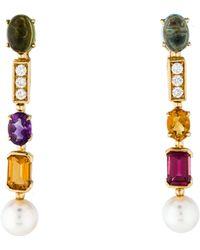 bvlgari 18k multistone u0026 diamond clipon earrings yellow lyst