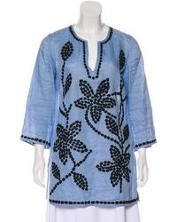 8ea157c73c0 Lyst - Tory Burch Long Sleeve Embroidered Tunic in White