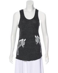 Torn By Ronny Kobo - Sleeveless Graphic Top Grey - Lyst