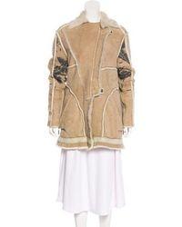 Just Cavalli - Shearling Short Coat Tan - Lyst