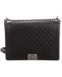 d4a38d2cde5e Lyst - Chanel Large Boy Bag Black in Metallic