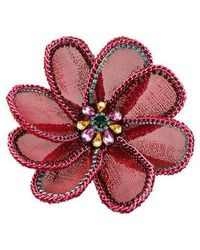 Erickson Beamon - Large Crystal Floral Brooch Pin Gold - Lyst