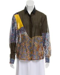 Dries Van Noten - Printed Button-up Blouse Olive - Lyst