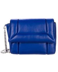 Julien David - Leather Flap Chain-link Shoulder Bag Blue - Lyst