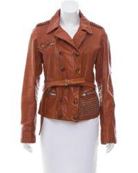 Golden Goose Deluxe Brand - Embellished Leather Jacket Cognac - Lyst