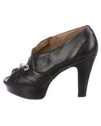 Sonia Rykiel - Leather Peep-toe Booties Black - Lyst