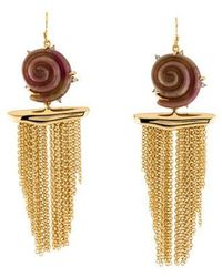 Alexis Bittar - Lucite Shell Tassel Earrings Gold - Lyst