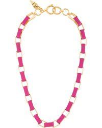 Diane von Furstenberg - Gabby Leather Wrapped Link Necklace Gold - Lyst