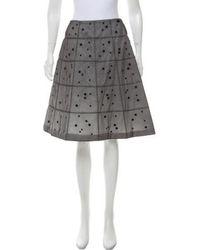 Chanel - Embellished Silk Skirt Grey - Lyst