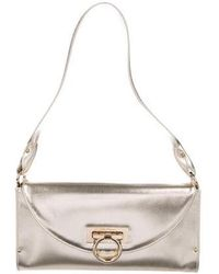 e0d7bf8eac51 Lyst - Ferragamo Marisol Gancio Lock Leather Shoulder Bag in Pink