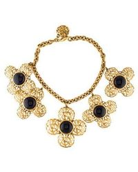 Chanel - Gripoix Cross Necklace Gold - Lyst