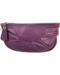 Dior - Pleated Leather Clutch Silver - Lyst