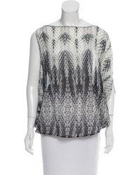 Roberto Cavalli - Asymmetrical Silk Top Grey - Lyst