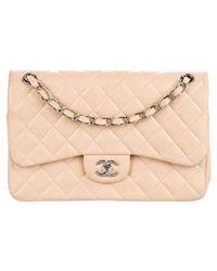 e6b97336d52e Lyst - Chanel Classic Jumbo Double Flap Bag White in Metallic