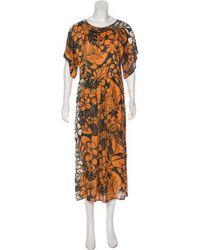 Warm - Silk Maxi Dress Orange - Lyst