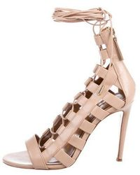 eb289b32044 Lyst - Aquazzura Amazon Leather Sandals Nude in Natural - Save ...