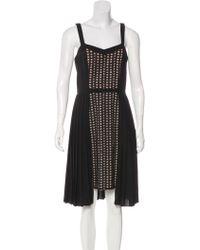 Timo Weiland - Eyelet-paneled Knee-length Dress Tan - Lyst