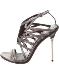 B Brian Atwood - Suede-trimmed Leather Sandals - Lyst